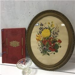 LOT444: Framed Oval Floral Print & Scrap Book & Candy Dish