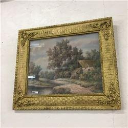 "LOT472: Gold Color Cast Frame (Cottage Scene) ""Chammon"""
