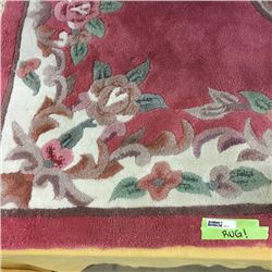 LOT473: Pink Floral Rug w/Tassel Edge