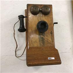 LOT474: Wood Box Telephone