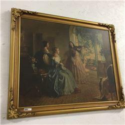LOT475: Large Gold Color Framed Picture (3 Ladies - Violin)