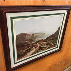 """LOT488: Framed Print """"Percy 1849"""" (Girl & Cattle)"""