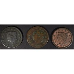 1825 & 26 VG & 1844 VF LARGE CENTS