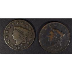 1819 FINE & 1821 VG+ LARGE CENTS