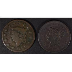 1820 VG & 1843 FINE LARGE CENTS