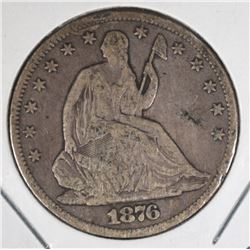 1876-CC SEATED HALF DOLLAR, VG/FINE