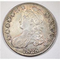 1828 CAPPED BUST HALF DOLLAR, AU/BU