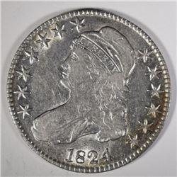 1824 BUST HALF DOLLAR, AU -LOTS OF LUSTRE