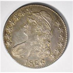 1826 CAPPED BUST HALF DOLLAR, AU+++ NICE