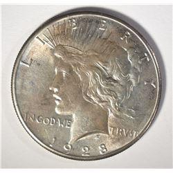 1928 PEACE SILVER DOLLAR, BU  KEY COIN