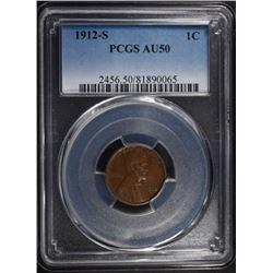 1912-S LINCOLN CENT PCGS AU-50