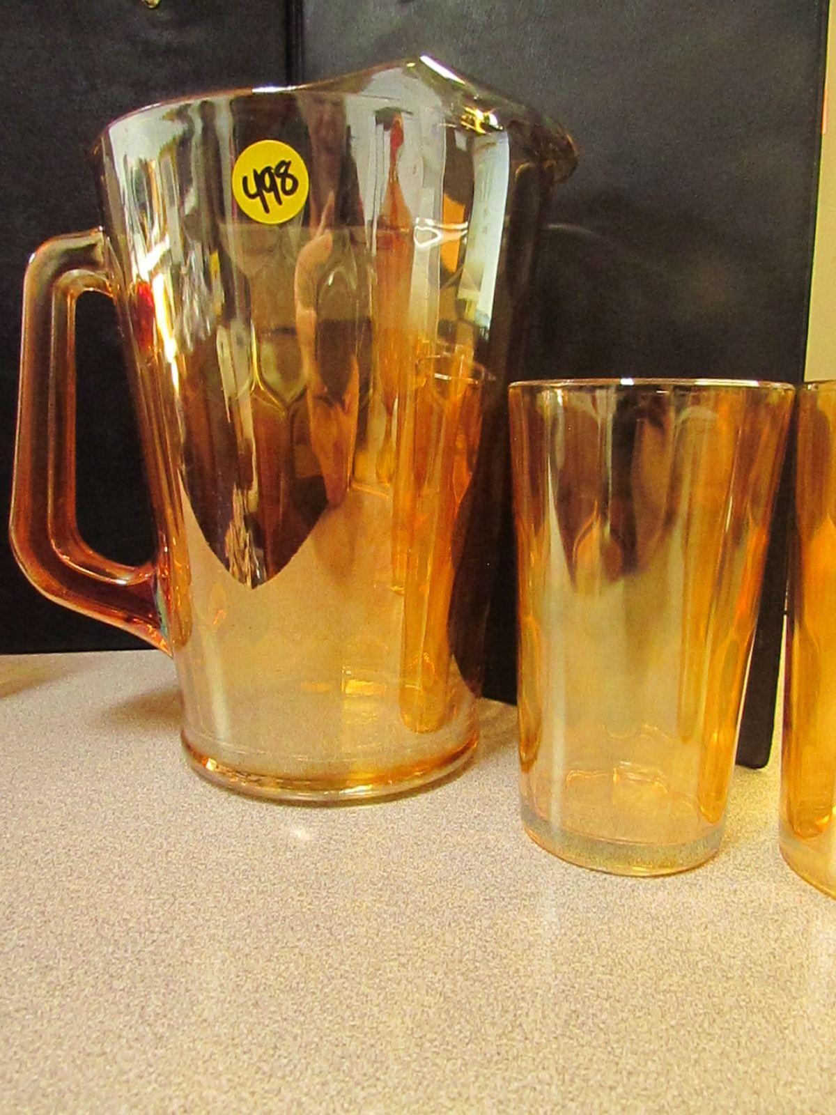 Hex Optic Depression Glass Pattern 1950 Water Set