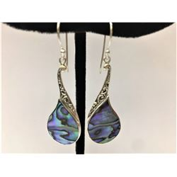 Abalone Coral Earring .925 Sterling Silver