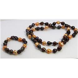"10-11Mm Necklace Baroque ""32"" Necklace Bracelet ""7.5"" Pearls Set"