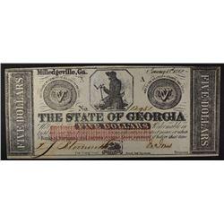 1862 $5.00 STATE OF GEORGIA ( MILLEDGEVILLE ) CU