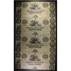UNCUT SHEET OF 4-BANK OF AUGUSTA $5.00 NOTES