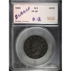 1825 LARGE CENT, N-2 R-2 SEGS VF
