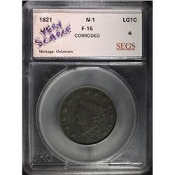 1821 LARGE CENT, N-1 SEGS F/VF