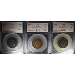 LOT OF 3-SEGS GRADED LARGE CENTS: