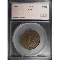 1826 LARGE CENT N-6 SEGS F/VF