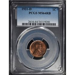 1931-D LINCOLN CENT PCGS MS-64 RB