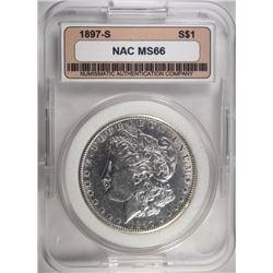 1897-S MORGAN DOLLAR NAC GEM BU+
