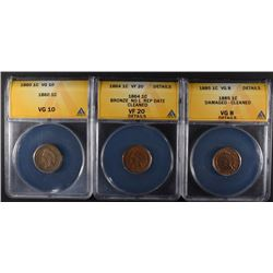 3 - INDIAN CENTS 1860 ANACS VG10, 1864