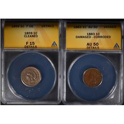1859 INDIAN CENT ANACS F15 DETAILS &