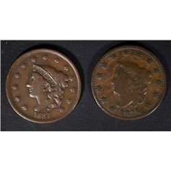 1828 VG & 1837 F/VF U.S. LARGE CENTS