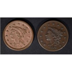 1837 VF & 1855 VF  U.S. LARGE CENTS