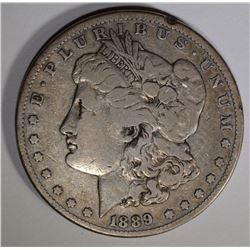 1889-CC MORGAN DOLLAR FINE RIM BUMP OBV
