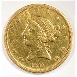 1839 $5.00 GOLD LIBERTY NO MOTTO, XF/AU