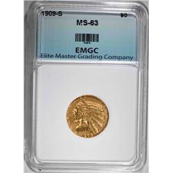 1909-S $5.00 GOLD INDIAN, EMGC CH BU