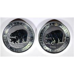 2-BU 2015 1.5 Oz SILVER $8 CANADA POLAR BEAR & CUB