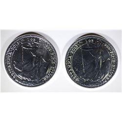 2-BU 2015 BRITISH BRITANNIA 1 Oz SILVER COINS