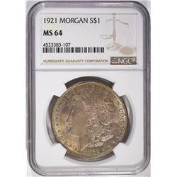 1921 MORGAN DOLLAR, NGC MS-64 TONING
