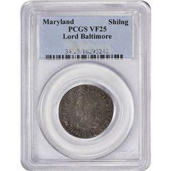 Choice VF Lord Baltimore Maryland Shilling Maryland. Undated (1659) Lord Baltimore Shilling. Hodder