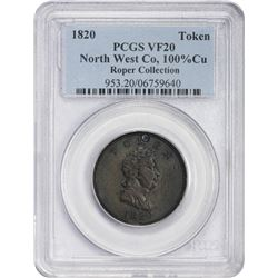 Famed 1820 North West Co. Token Struck in Copper 1820 North West Co. Beaver Token. Breen-1084, W-925