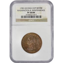 Restrike 1783 Washington & Independence Copper 1783 Washington & Independence Copper. Baker-3, W-103