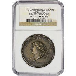 1792 Liberte Francoise Medal France. 1792 Liberte Francoise Medal. MAZ-318A. Metal de Cloche (Clock
