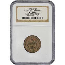 Popular 1837 Half Cent Token 1837 Half Cent Token. HT-73. MS-63 BN NGC.