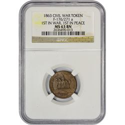 Choice Uncirculated 1863 Civil War Token Patriotic. 1863 F-176/271a. Copper. Rarity-3. MS-63 BN NGC.