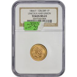 Gem 1864 Lincoln Civil War Token Patriotic. 1864 F-128/289. Brass. Rarity-3. Medal Turn. MS-65 NGC.