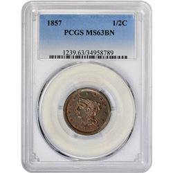 Choice BN Uncirculated 1857 Half Cent 1857 Half Cent C-1, B-1. Rarity-2. MS-63 BN PCGS.