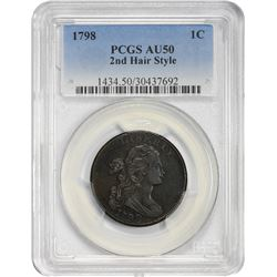 Pleasing AU 1798 Large Cent 1798 Cent S-166. Rarity-1. AU-50 PCGS.