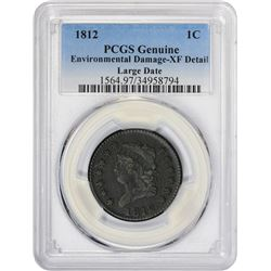 EF Detail 1812 Cent 1812 Cent Large Date. S-289. Rarity-1. Genuine – Environmental Damage – EF Detai