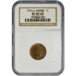 Frosty RB Gem 1864-L Cent 1864-L Cent MS-65 RB NGC.