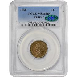 Gem Uncirculated 1865 Indian Cent 1865 Indian Cent Fancy 5. MS-65 BN PCGS. CAC.