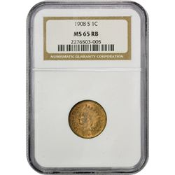 Gem RB Uncirculated 1908-S Indian Cent 1908-S Indian Cent MS-65 RB NGC.