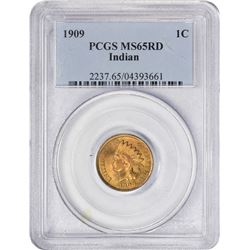 Splendid Gem Uncirculated 1909 Indian Cent 1909 Indian Cent. MS-65 RD PCGS.
